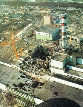 The actual Chernobyl plant after the explosion.