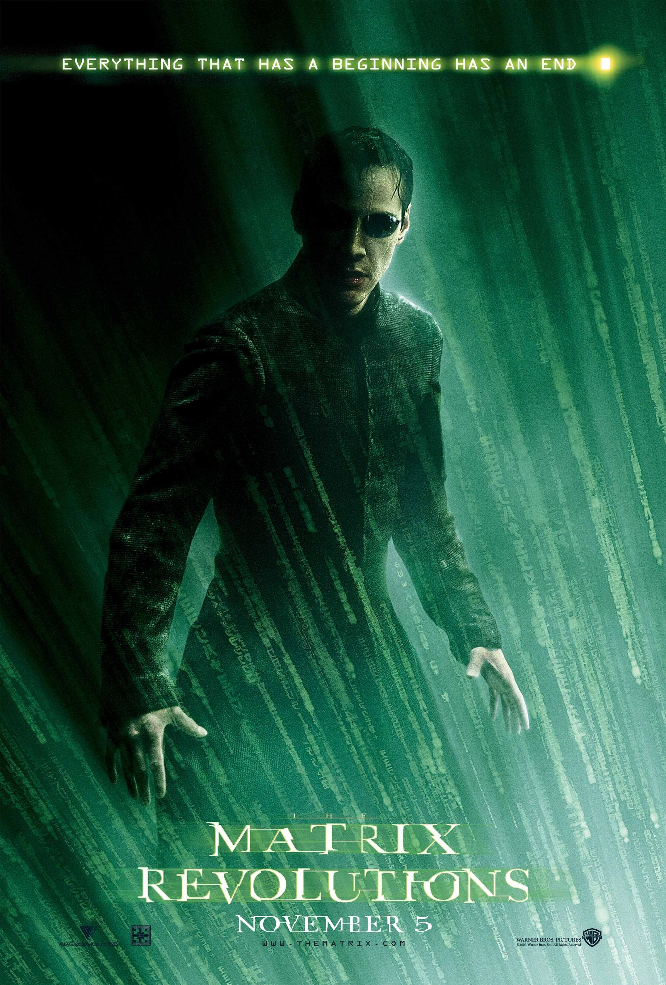 The Matrix Revolutions (2003) - Directed by: The WachowskisStarring: Keanu Reeves, Laurence Fishburne, Carrie Anne-Moss, Jada Pinkett-SmithRated: R for Sci Fi Violence and Brief Sexual ContentRunning Time: 2h 9mTMM Score: 2 StarsSTRENGTHS: Some Okay Action, Looks GoodWEAKNESSES: Lazy Writing, Bland Conclusion