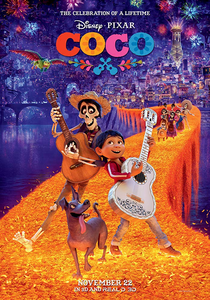 Coco (2017) - Directed by: Lee Unkrich, Adrian MolinaStarring: Anthony Gonzalez, Gael Garcia Bernal, Benjamin Bratt, Alanna UbachRated: PG for Thematic ElementsRunning Time: 1 h 45 mTMM Score: 4 stars out of 5STRENGTHS: Production Design, ThemesWEAKNESSES: Pacing