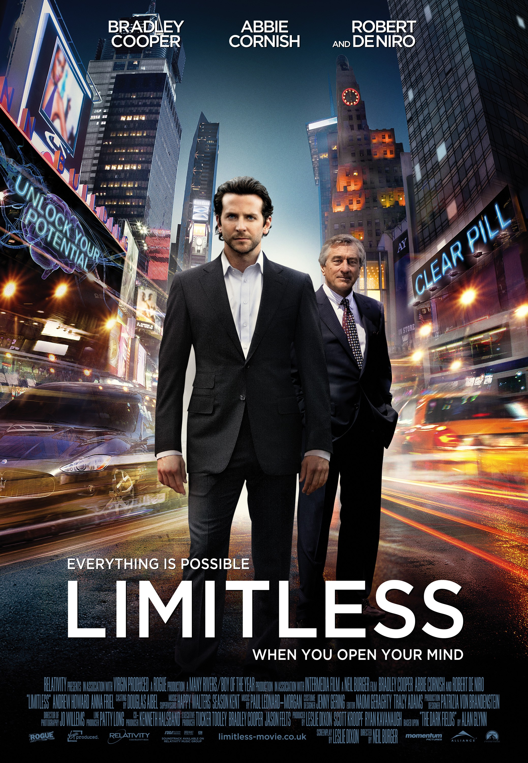 Limitless (2011) - Directed by: Neil BurgerStarring: Bradley Cooper, Robert De Niro, Abbie CornishRated: PG-13 for Thematic Material Involving a Drug, Violence Including Disturbing Images, Sexuality and LanguageRunning Time: 1 h 45 mTMM Score: 3 stars out of 5STRENGTHS: Fun Concept, Some ActingWEAKNESSES: It Thinks It's Smarter Than It Is, Some Acting