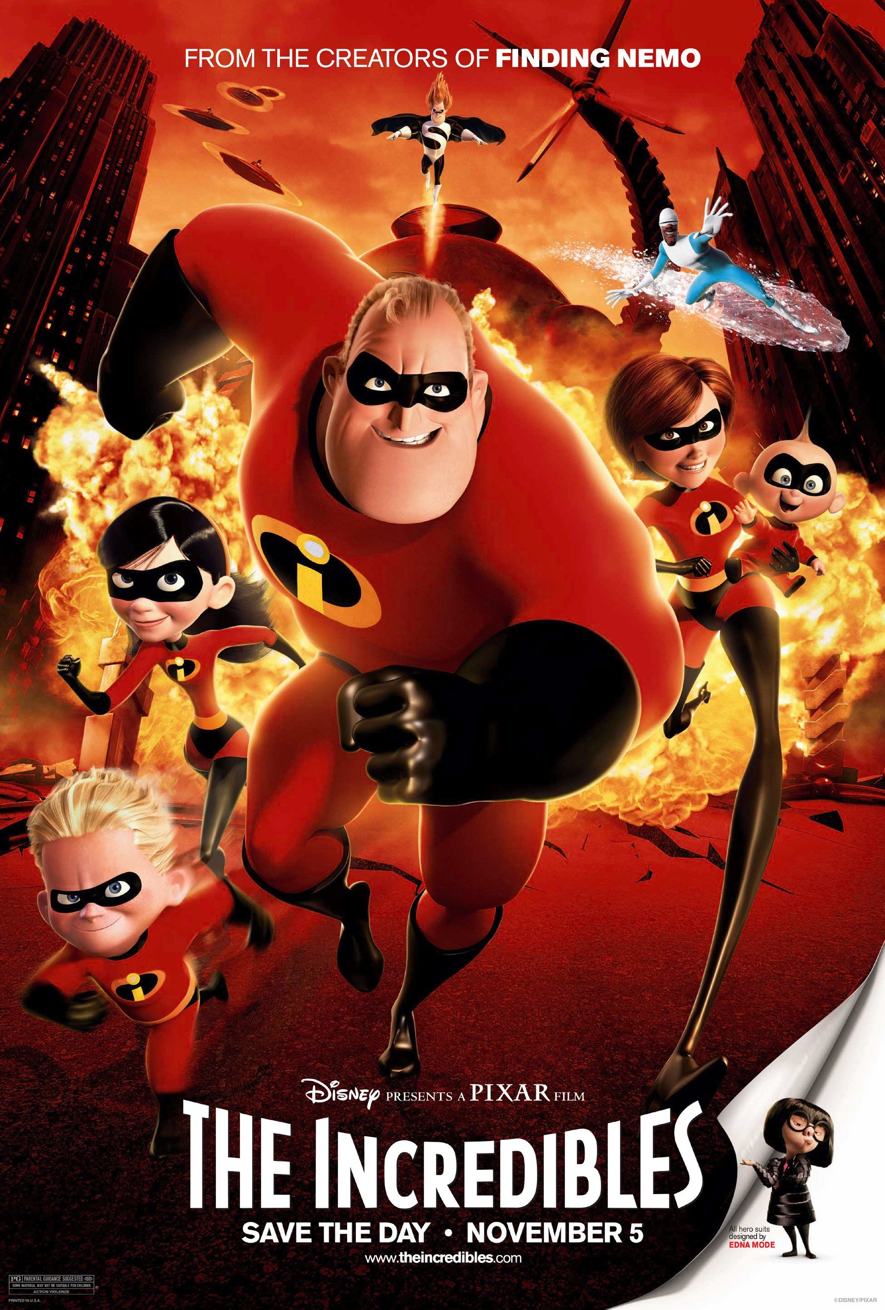 The Incredibles (2004) - Directed by: Brad BirdStarring: Craig T. Nelson, Holly Hunter, Samuel L. Jackson, Jason Lee, Spencer Fox, Sarah Vowell, Wallace Shwan, Brad BirdRated: PG for Action ViolenceRunning Time: 1 h 55 mTMM Score: 4.5 stars out of 5STRENGTHS: Story, Animation, Humor, Soundtrack, ExcitementWEAKNESSES: A Few Small Plot Holes