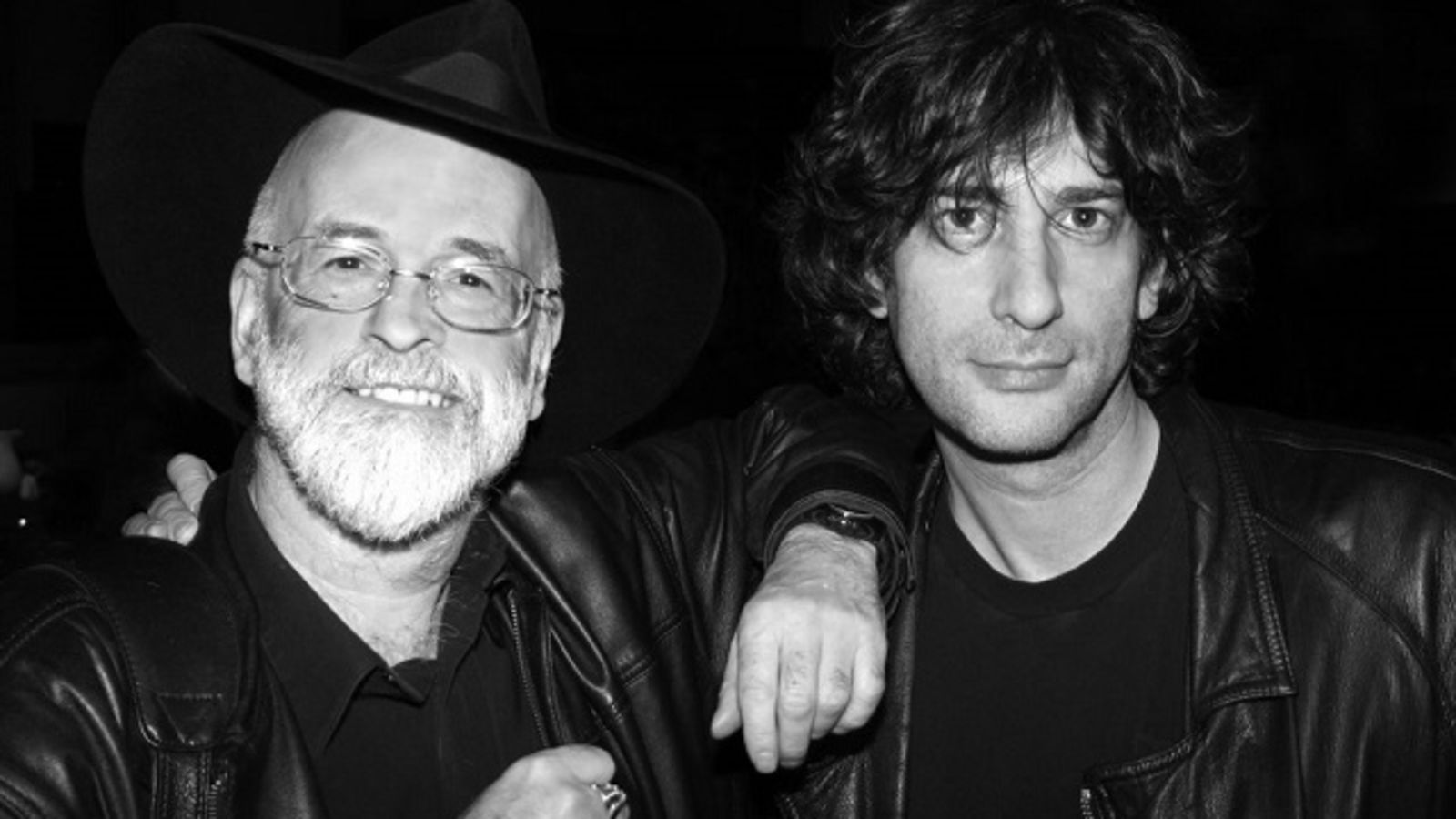 "Terry Pratchett (Left) and Neil Gaiman (Right). Giants of the fantasy world and co-authors of ""Good Omens""."