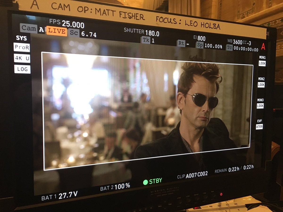 David Tennant on set.