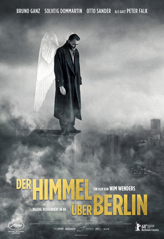 Wings of Desire (1987) - Directed By: Wim WendersStarring: Bruno Ganz, Solveig Dommartin, Otto Sander, Peter FalkRated: PG-13Run Time: 2h 8mTMM Score: 5 StarsStrengths: Cinematography, Dialogue, DirectionWeakness: Maybe a Bit Slow