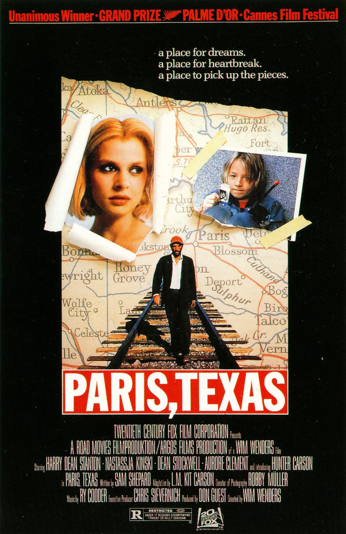 Paris, Texas (1984) - Directed By:Wim WendersStarring: Harry Dean Stanton, Nastassja Kinski, Dean StockwellRated: RRun Time: 2h 25mTMM Score: 5 StarsStrengths: Acting, Creation of Emotional SpaceWeakness: Length, Pacing