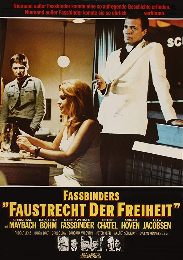 Fox and His Friends (1975) - Directed by: Rainer Werner FassbinderStarring: Rainer Werner Fassbinder, Peter Chatel, Karlheinz Bohm, Adrian Hoven, Christiane MaybachRated: NR (Suggested R for Some Graphic Nudity, Sexual Dialogue and Language)Running Time: 2 h 3 mTMM Score: 4 stars out of 5STRENGTHS: Most Characters, Writing, Directing, Acting, CinematographyWEAKNESSES: A Few Melodramatic Moments, One or Two Characters