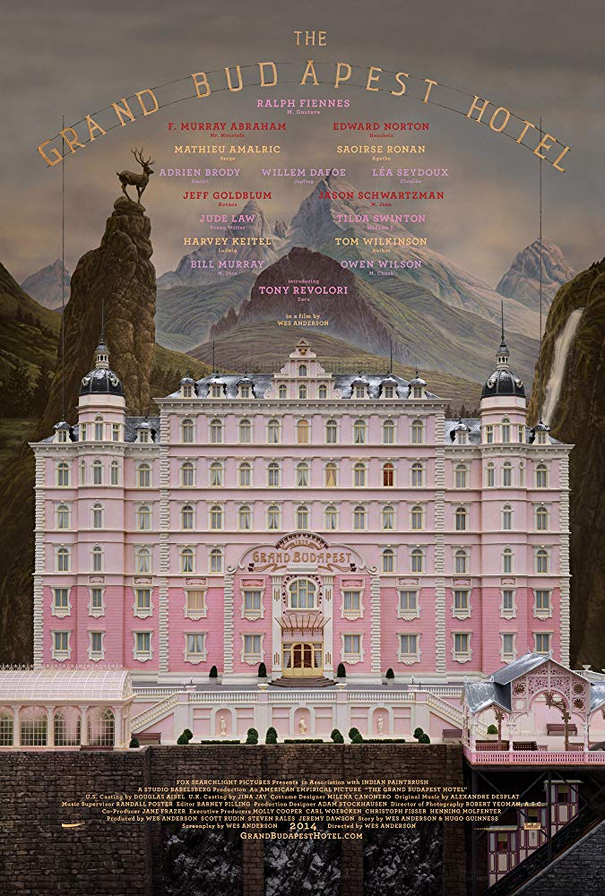 The Grand Budapest Hotel (2014) - Directed by: Wes AndersonStarring: Ralph Fiennes, F. Murray Abraham, Matthiew Amalric, Adrein Brody, Willem Dafoe, Jeff Goldblum, Harvey Keitel, Jude Law, Billy Murray, Edward Norton, Saoirse Ronan, Jason Schwartzman, Lea Seydoux, Tilda Swinton, Tom WilkinsonRated: R for Language, Some Sexual Content and ViolenceRunning Time: 1 h 39 mTMM Score: 5 stars out of 5STRENGTHS: Directing, Mis-En-Scene, Writing, Production Design, Characters, Story, FunWEAKNESSES: -