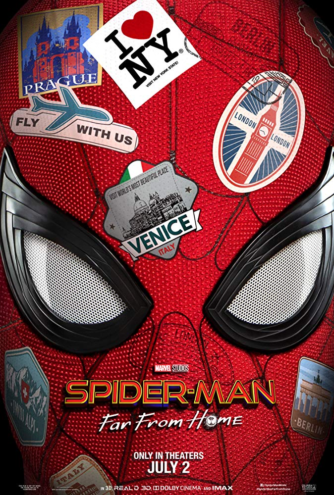 Spider-Man: Far From Home (2019) - Directed by: Jon WattsStarring: Tom Holland, Samuel L Jackson, Jake Gyllenhaal, Marisa Tomei, Jon Favreau, Zendaya, Jacob Batalon, Tony Revolori, Martin Starr, J.B. Smoove, Cobie SmuldersRated: PG-13 for Sci-Fi Action Violence, Some Language and Brief Suggestive CommentsRunning Time: 2 h 9 mTMM Score: 3.5 stars out of 5STRENGTHS: Fun, Characters, Themes, Pacing, Peter Parker StuffWEAKNESSES: Villain, Spider-Man Stuff