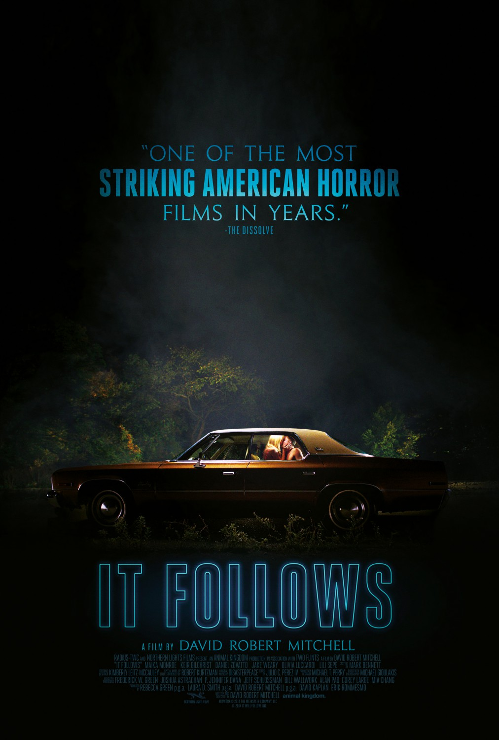 It Follows (2014) - Directed By: David Robert MitchellStarring: Maika Monroe, Keir Gilchrist, Olivia LuccardiRated: RRun Time: 1h 40mTMM Score: 4 StarsStrengths: Music, Concept, ThemeWeakness: The Ending