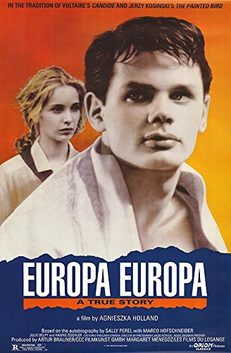 Europa Europa (1990) - Directed by: Agnieszka HollandStarring: Marco Hofschneider, Andre Wilms, Julie DelpyRated: R for Mature Treatment of Holocaust IssuesRunning Time: 1 h 52 mTMM Score: 3.5 stars out of 5STRENGTHS: Themes, StoryWEAKNESSES: Some Acting, Melodrama, Coincidence