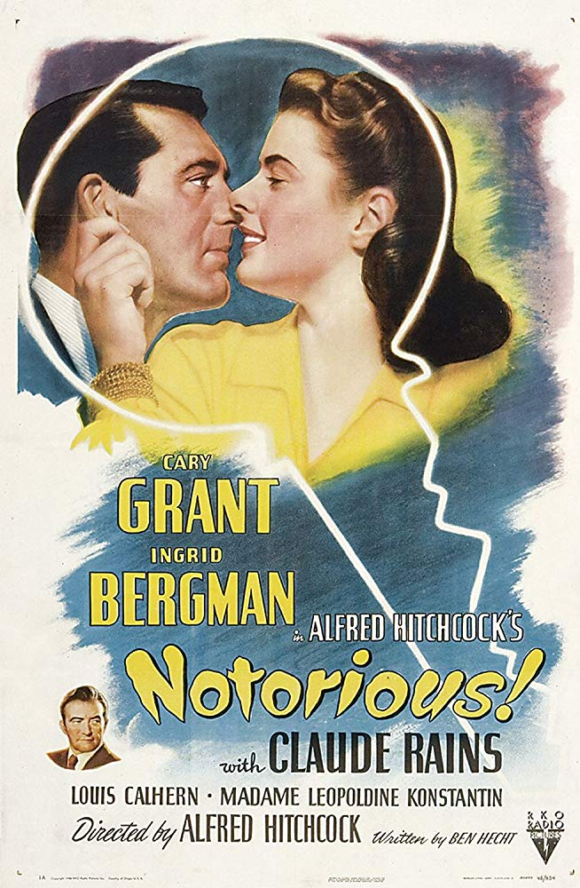 Notorious (1946) - Directed by: Alfred HitchcockStarring: Cary Grant, Ingrid Bergman, Claude Rains, Louis Calhern, Leopoldine KonstantinRated: NR (Suggested PG for Thematic Material)Running Time: 1 h 42 mTMM Score: 5 stars out of 5STRENGTHS: Directing, Acting, Writing, Story, Pacing, Classic Hollywood CharmWEAKNESSES: -