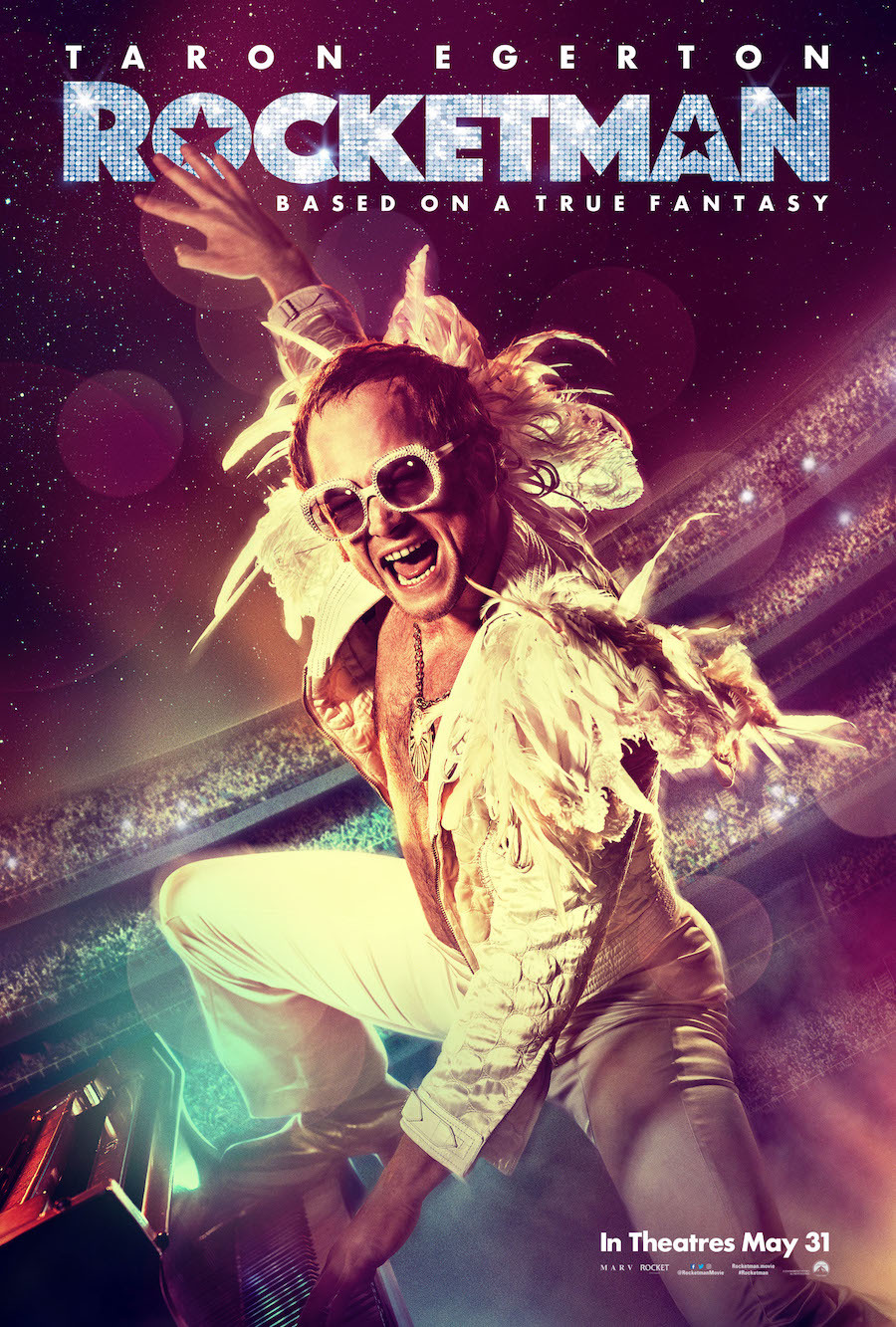 Rocketman (2019) - Directed by: Dexter FletcherStarring: Taron Egerton, Jamie Bell, Richard Madden, Bryce Dallas HowardRated: R for Language Throughout, Some Drug Use and Sexual ContentRunning Time: 2 h 1 mTMM Score: 4 stars out of 5STRENGTHS: Directing, Music, ActingWEAKNESSES: Ending