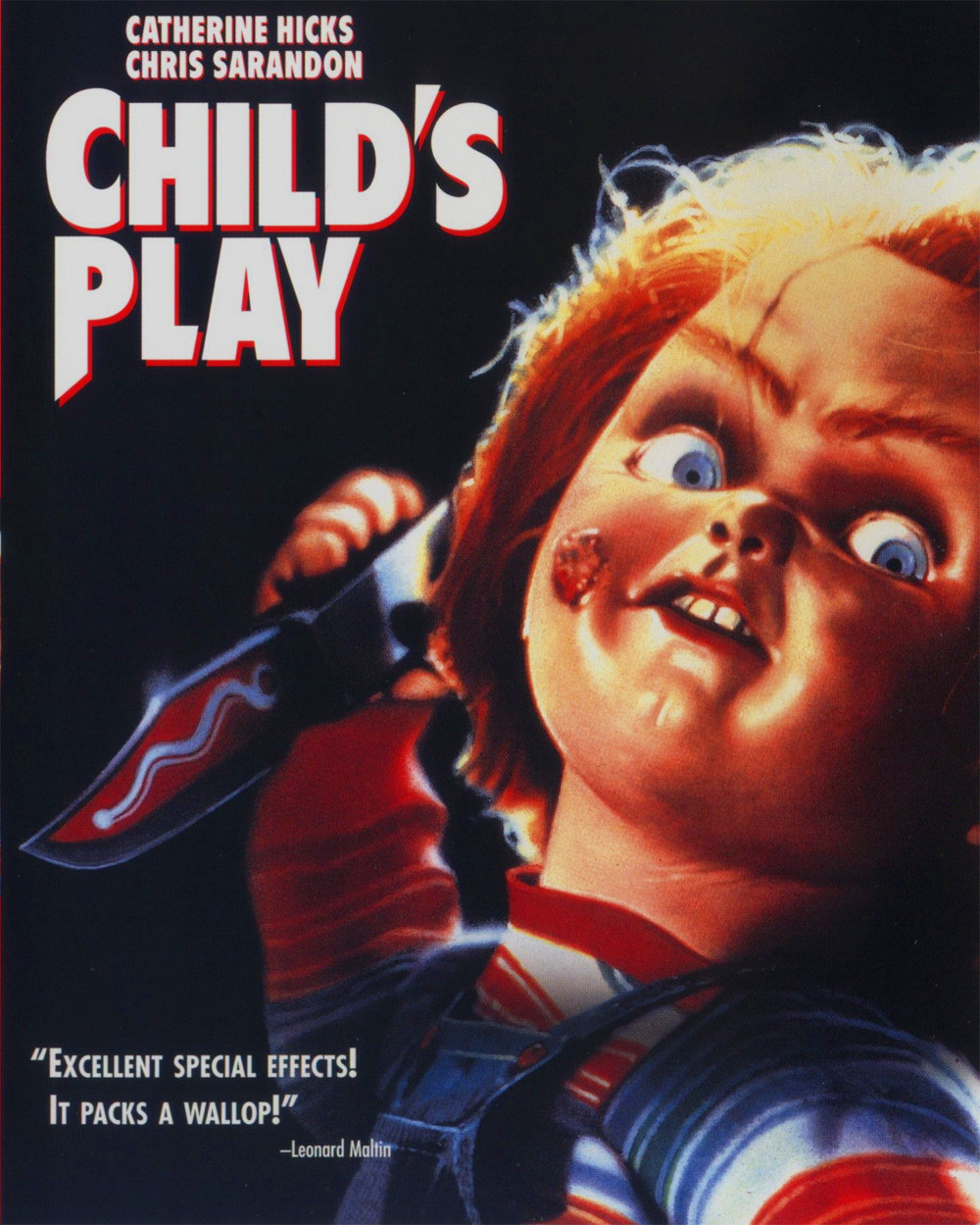 Child's Play (1988) - Directed by: Tom HollandStarring: Catherine Hicks, Chris Sarandon, Alex Vincent, Brad Dourif, Dinah ManoffRated: RRunning Time: 1 h 27 mTMM Score: 3 stars out of 5STRENGTHS: It's Pretty Funny, Some Special EffectsWEAKNESSES: Wildly Inept Characters, Giant Leaps in Logic, Silly Story, Pacing