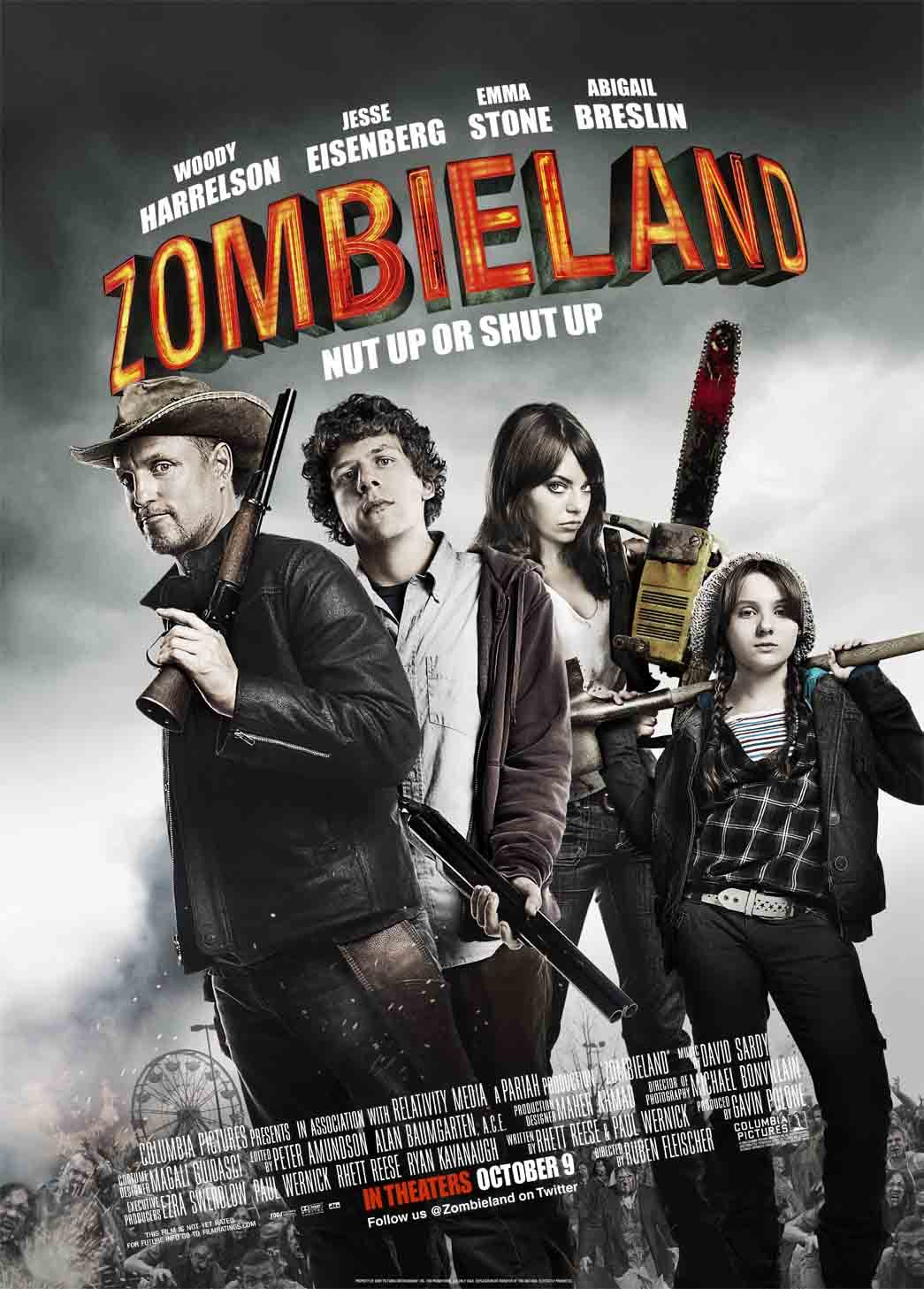 Zombieland (2009) - Directed by: Ruben FleischerStarring: Jesse Eisenberg, Woody Harrelson, Emma Stone, Abigail BreslinRated: R for Horror Violence/Gore and LanguageRunning Time: 1h 28mTMM Score: 3.5 StarsSTRENGTHS: Performances, Action, HilariousWEAKNESSES: Awful Character Decisions, Lazy Writing