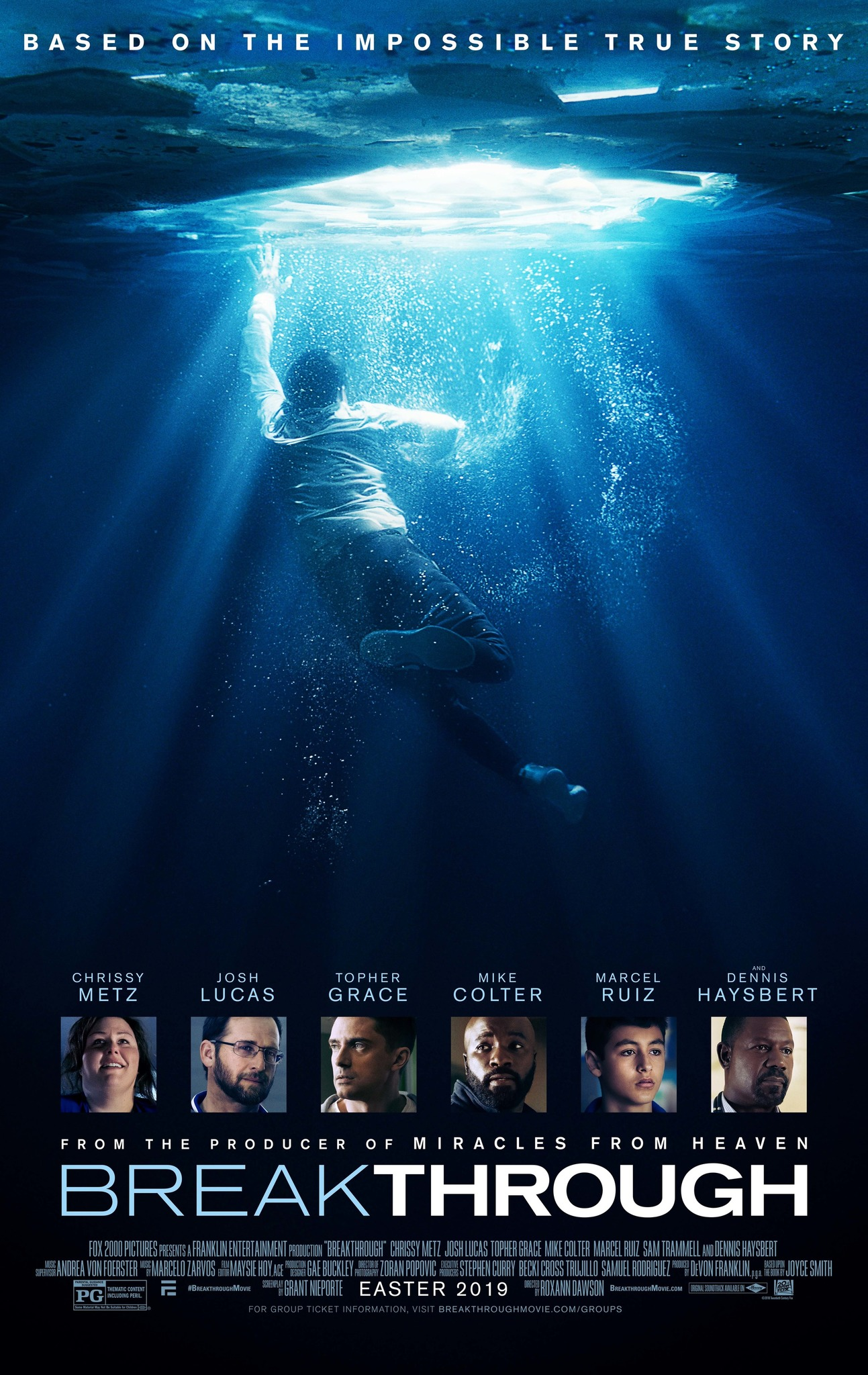 Breakthrough (2019) - Directed By: Roxann DawsonStarring: Topher Grace, Josh Lucas, Chrissy Metz, Mike Colter, Dennis Haysbert, Marcel RuizRated: PGRun Time: 1h 56mTMM Score: 1 StarStrengths: NoneWeakness: Almost Everything