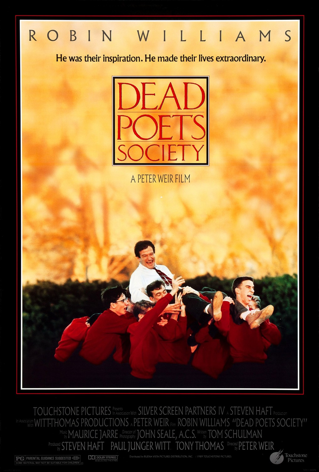Dead Poets Society (1989) - Directed by: Peter WeirStarring: Robin Williams, Robert Sean Leonard, Ethan Hawke, Josh CharlesRated: PGRunning Time: 2 h 8 mTMM Score: 4 stars out of 5STRENGTHS: Themes, Writing, Directing, Some ActingWEAKNESSES: Some Melodrama, Knox Overstreet's Character, Somewhat Predictable