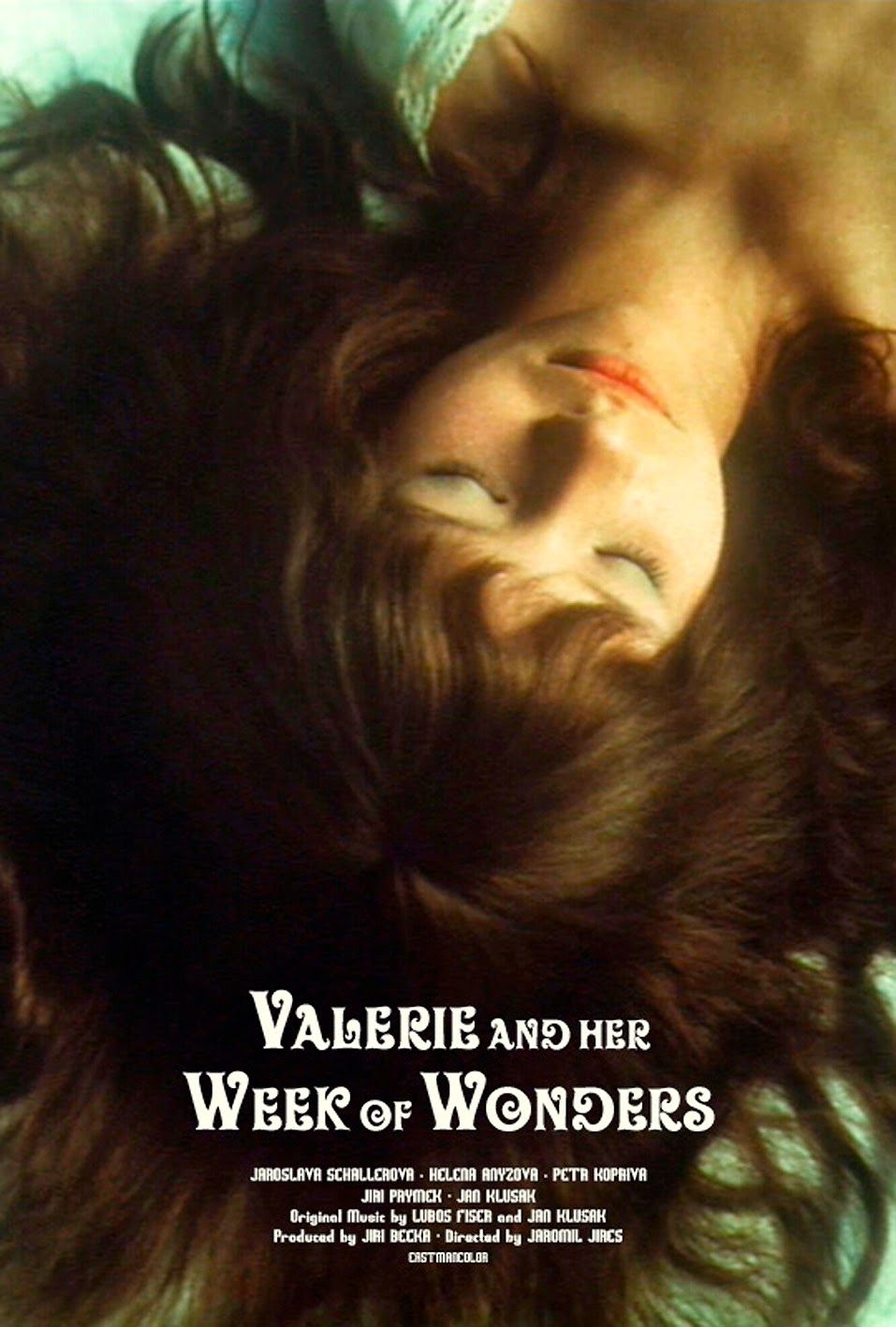 Valerie and Her Week of Wonders (1970) - Directed by: Jaromil JiresStarring: Jaroslava Schallerova, Helena Anyzovz, Petr KoprivaRated: NR (Suggested R for Nudity, Thematic Elements, and Two Scenes of Animal Cruelty)Running Time: 1 h 17 mTMM Score: 4 stars out of 5STRENGTHS: Directing, Strength of Themes, Production Design, Cinematography, Mis-En-SceneWEAKNESSES: Sexualizes a Thirteen Year Old Girl, Two Scenes of Animal Cruelty