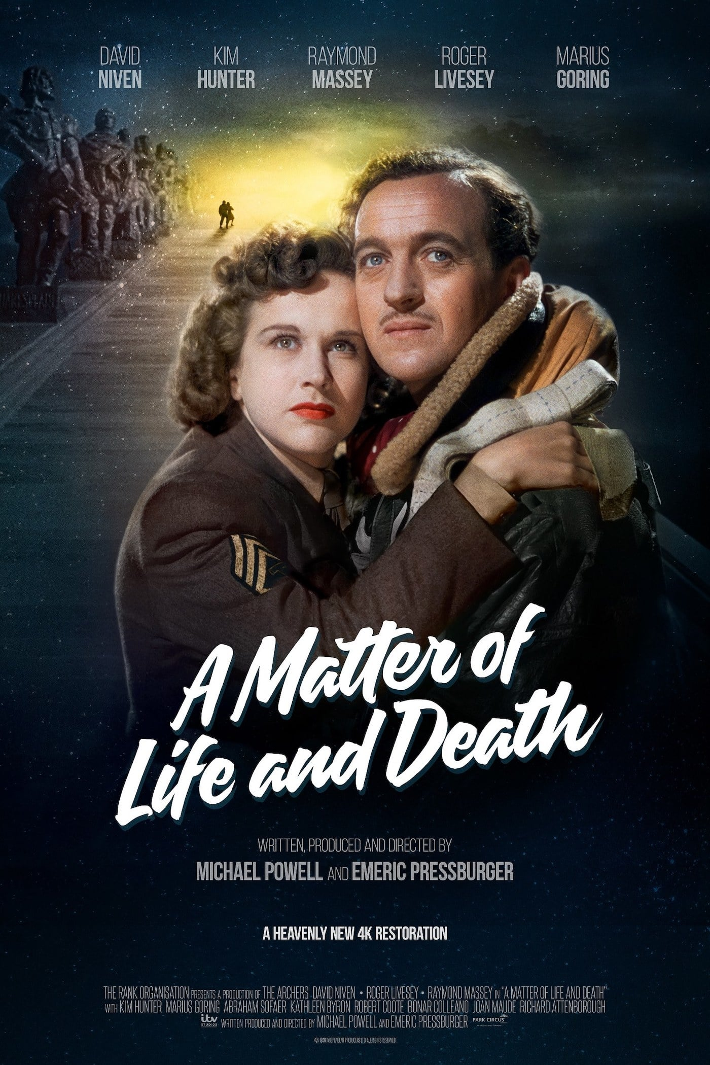 A Matter of Life and Death  (1946) - Directed by: Michael Powell, Emeric PressburgerStarring: David Niven, Kim Hunter, Robert Coote, Kathleen Byron, Richard Attenborough, Marius Goring, Roger LiveseyRated: PGRunning Time: 1 h 44 mTMM Score: 4 stars out of 5STRENGTHS: Concept, Production Design, Special Effects, Humor, ThemesWEAKNESSES: Pacing