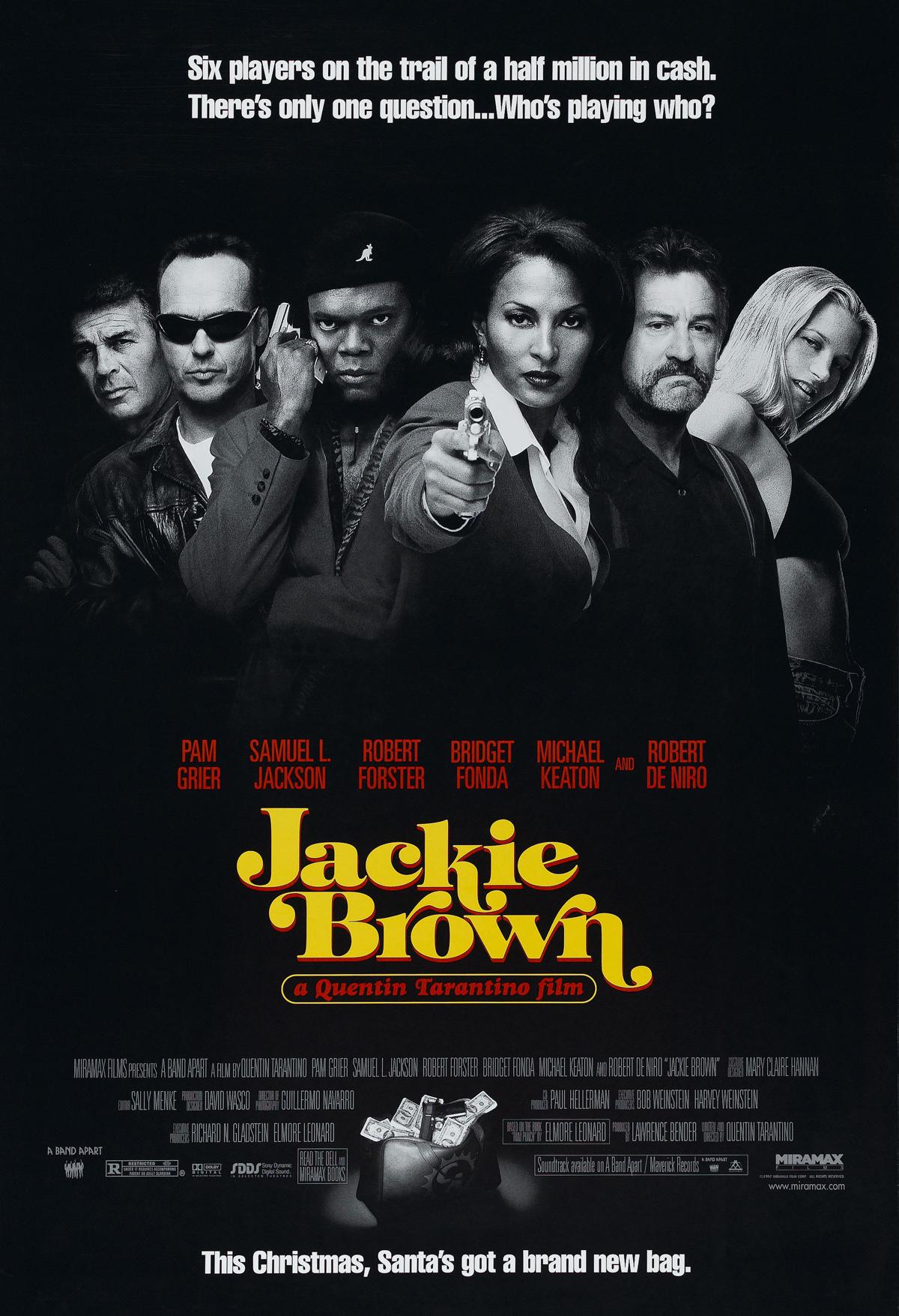 Jackie Brown (1997) - Directed By: Quentin TarantinoStarring: Pam Grier, Samuel L. Jackson, Robert Forster, Bridget Fonda, Michael Keaton, Robert De Niro, Chris TuckerRated: RRun Time: 2h 34mTMM Score: 4 StarsStrengths: Music, Dialogue, Story, CameraWeakness: None
