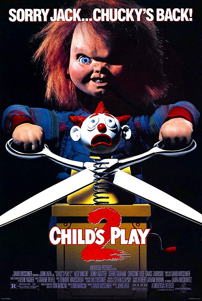 Child's Play 2 (1990) - Directed by: John LafiaStarring: Alex Vincent, Jenny Agutter, Gerrit Graham, Christine Elise, Brad DourifRated: RRunning Time: 1 h 30 mTMM Score: 1.5 stars out of 5STRENGTHS: Chucky FightsWEAKNESSES: Literally Everything Else