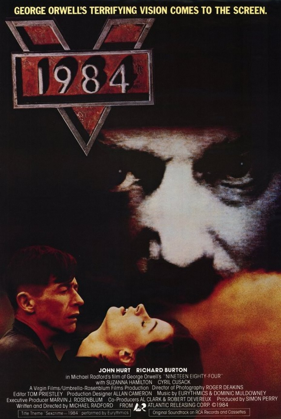 1984 (1984) - Directed by: Michael RadfordStarring: John Hurt, Richard Burton, Suzanna HamiltonRated: RRunning Time: 1 h 53 mTMM Score: 4 stars out of 5STRENGTHS: Themes, Story, Cinematography, DirectingWEAKNESSES: Pacing, Some Acting