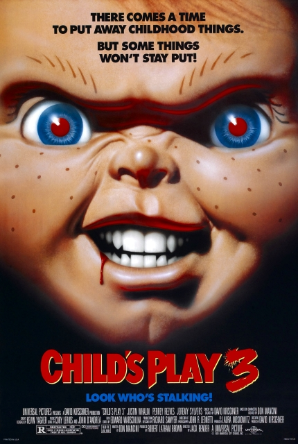 Child's Play 3 (1991) - Directed by: Jack BenderStarring: Justin Whalin, Perrey Reeves, Jeremy Sylers, Travis Fine, Brad Dourif Dakin MatthewsRated: R for Horror Violence and LanguageRunning Time: 1 h 30 mTMM Score: 1 stars out of 5STRENGTHS: Some HumorWEAKNESSES: Writing, Directing, Story, Acting