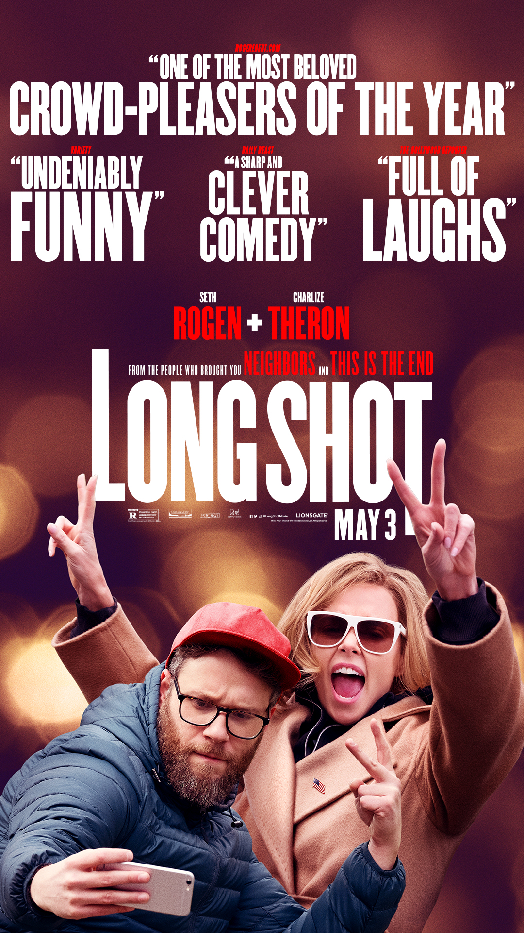 Long Shot (2019) - Directed by: Jonathan LevineStarring: Charlize Theron, Seth Rogen, Bob Odenkirk, Alexander Skarsgard, Randall Park, Andy Serkis, O'Shea Jackson Jr., June Diane Raphael, Ravi PatelRated: R for Strong Sexual Content, Language Throughout and Some Drug ContentRunning Time: 2 h 5 mTMM Score: 4 stars out of 5STRENGTHS: Themes, Writing, Acting, HumorWEAKNESSES: Pacing, Length