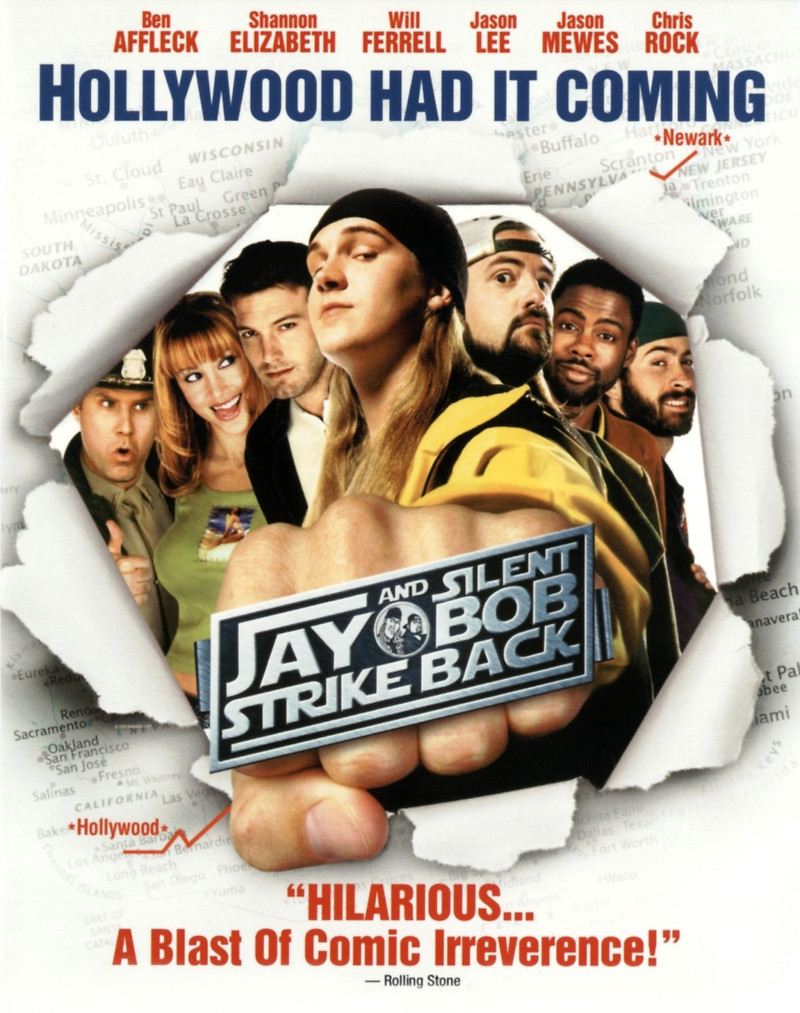 Jay and Silent Bob Strike Back (2001) - Directed by: Kevin SmithStarring: Jason Mewes, Kevin Smith, Ben Affleck, Brian O'Halloran, Jeff Anderson, Eliza Dushku, Will Ferrell, Jason Lee, George Carlin, Sean William Scott, Carrie FisherRated: R for Nonstop Crude and Sexual Humor, Pervasive Strong Language, and Drug ContentRunning Time: 1 h 44 mTMM Score: 2 stars out of 5STRENGTHS: Some Humor, Some Meta-Moments, CameosWEAKNESSES: Lots of Outdated and Sophomoric Humor