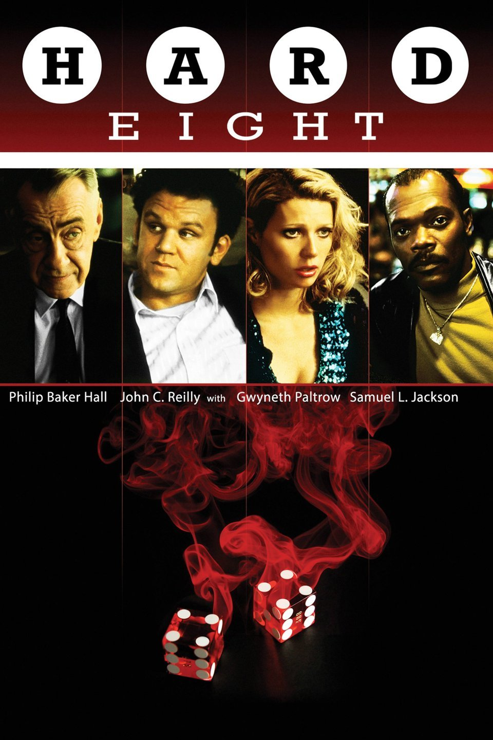 Hard Eight (1996) - Directed by: Paul Thomas AndersonStarring: John C. Reilly, Phillip Baker Hall, Gwyneth Paltrow, Samuel L. JacksonRated: R for Strong Language, Some Violence and SexualityRunning Time: 1h 42mTMM Score: 4.5 StarsSTRENGTHS: Directing, Cinematography, StoryWEAKNESSES: Ending Lacks Impact