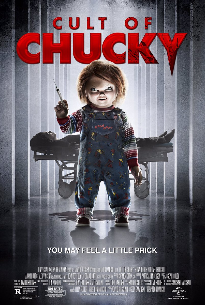 Cult of Chucky (2017) - Directed by: Don ManciniStarring: Jennifer Tilly, Alex Vincent, Fiona Dourif, Brad Dourif, Michael Therriault, Adam HurtigRated: R for Strong Horror Violence, Grisly Images, Language, Brief Sexuality and Drug UseRunning Time: 1 h 31 mTMM Score: 2.5 stars out of 5STRENGTHS: Last Fifteen Minutes, Character ProgressionWEAKNESSES: Production Design, Pacing, Acting, Plot Holes