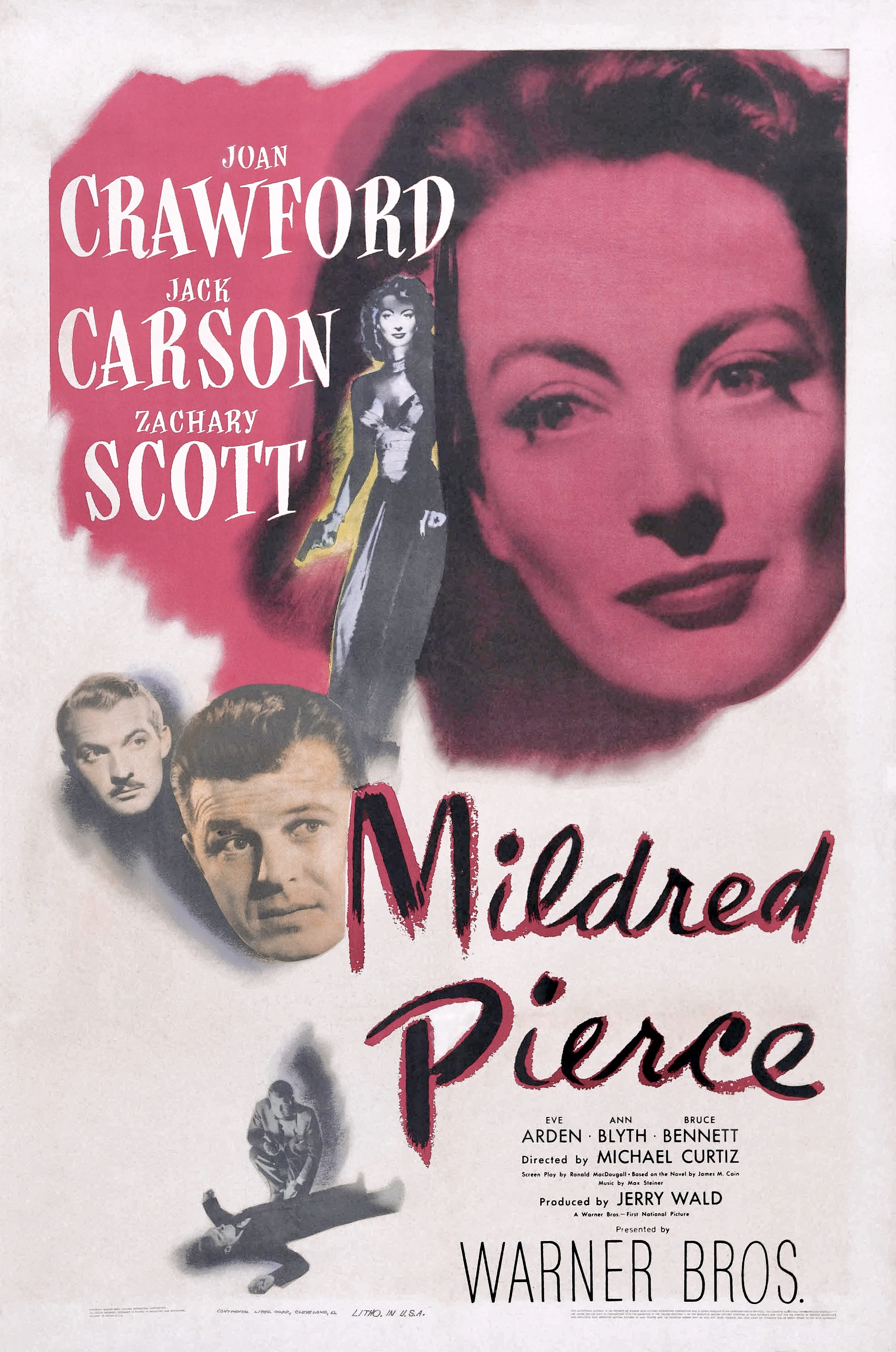 Mildred Pierce (1945) - Directed by: Michael CurtizStarring: Joan Crawford, Jack Carson, Zachary Scott, Ann Blyth, Bruce BennettRated: Passed (TMM Suggested PG-13 for Thematic Material and Brief Violence)Running Time: 1 h 51 mTMM Score: 4 stars out of 5STRENGTHS: Story, Writing, Acting, DirectingWEAKNESSES: Mild Pacing Issues in Second Act