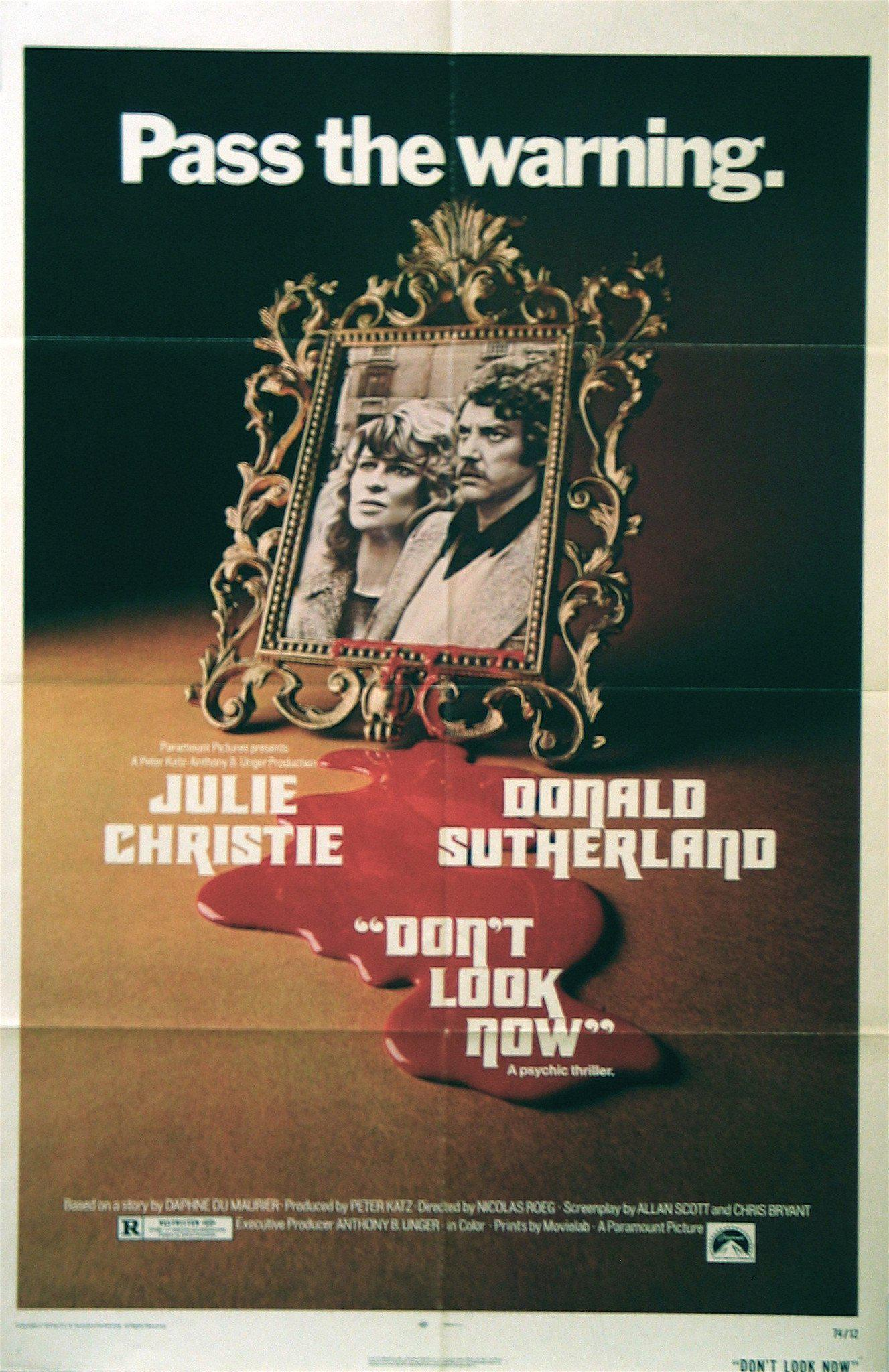 Don't Look Now (1973) - Directed By: Nicolas RoegStarring: Julie Christie, Donald Sutherland, Hilary Mason, Clelia Matania, Massimo SeratoRated: RRun Time: 1h 50mTMM Score: 4 StarsStrengths: Direction, ActingWeakness: Doesn't Connect the Dots