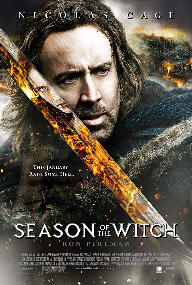 Season of the Witch (2011) - Directed by: Dominic SenaStarring: Nicolas Cage, Ron Perlman, Claire Foy, Stephen Graham, Robert Sheehan, Christopher LeeRated: PG-13 for Thematic Elements, Violence and Disturbing ContentRunning Time: 1 h 35 mTMM Score: 2.5 stars out of 5STRENGTHS: Production Design, Claire Foy, Pacing, FunWEAKNESSES: Paint-By-Numbers Plot, Pointless Action Scenes, Character and Story Logic