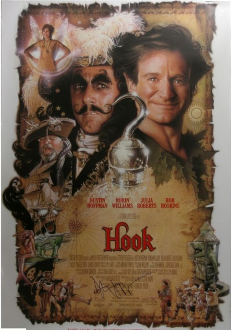 Hook (1991) - Directed By: Steven SpielbergStarring: Dustin Hoffman, Robin Williams, Julia Roberts, Maggie Smith, Bob HoskinsRated: PGRun Time: 2h 22mTMM Score: 4 StarsStrengths: Acting, Production DesignWeakness: Tinker Bell, Length