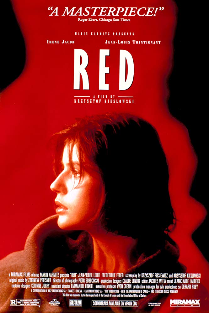 Three Colors: Red  (1995) - Directed by: Krysztof KieslowskiStarring: Irene Jacob, Jean-Louis Trintignant, Frederique FederRated: R for a Brief but Strong Sex SceneRunning Time: 1 h 39 mTMM Score: 5 stars out of 5STRENGTHS: Writing, Directing, Cinematography, ThemesWEAKNESSES: -