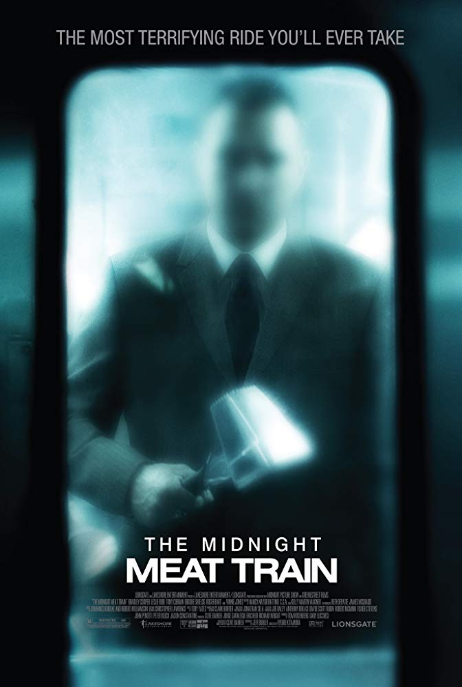 The Midnight Meat Train (2008) - Directed by: Ryuhei KitamuraStarring: Bradley Cooper, Vinnie Jones, Leslie BibbRated: R for Sequences of Strong Bloody Gruesome Violence, Grisly Images Involving Nudity, Sexual Content and LanguageRunning Time: 1 h 40 mTMM Score: 2.5 stars out of 5STRENGTHS: Slasher ScenesWEAKNESSES: Acting, Plot Holes