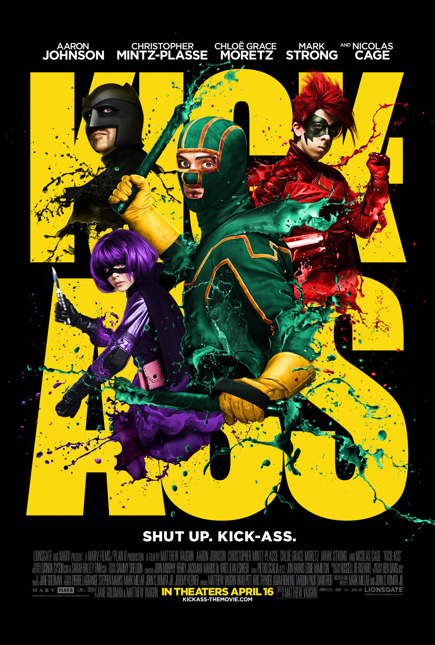 Kick Ass (2010) - Directed By: Matthew VaughnStarring: Aaron Taylor-Johnson, Nicolas Cage, Chloë Grace Moretz, Mark Strong, Christopher Mintz-PlasseRated: RRun Time: 1h 57mTMM Score: 3 Stars (I liked it)Strengths: High Concept, Nicolas Cage, FunWeakness: Acting