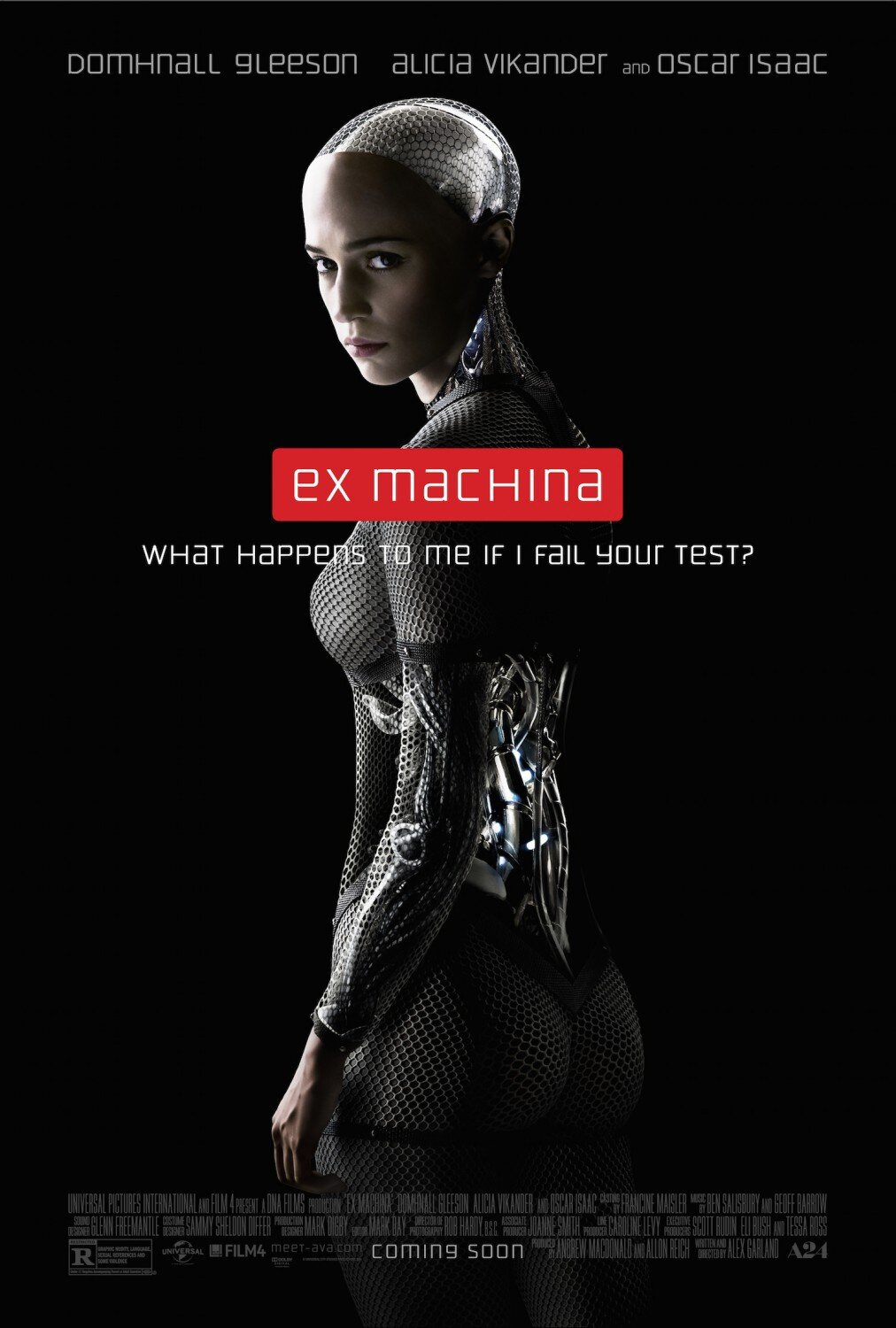 Ex Machina (2014) - Directed By: Alex GarlandStarring: Alicia Vikander, Domhnall Gleeson, Oscar IsaacRated: RRun Time: 1h 48mTMM Score: 4 StarsStrengths: Acting, VFXWeakness: Domhnall Gleeson's Character