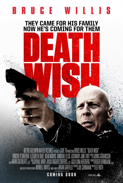 Death Wish (2018) - Directed by: Eli RothStarring: Bruce Willis, Dean NorrisRated: R for Strong Bloody Violence, and Language ThroughoutRunning Time: 1h 47mTMM Score: 1.5 StarsSTRENGTHS: Passable ActionWEAKNESSES: Bruce Willis, Direction, Pointless