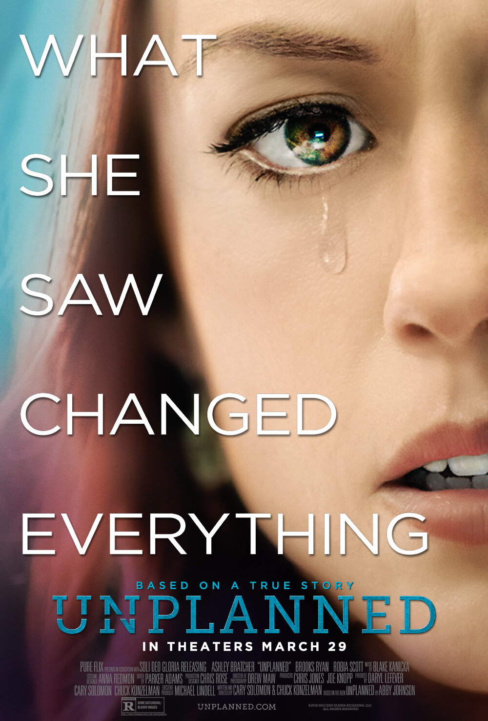 Unplanned (2019) - Directed By: Chuck Konzelman, Cary SolomonStarring: Ashley Bratcher, Brooks RyanRated: RRun Time: 1h 49mTMM Score: 2Strengths: ActingWeakness: Directing