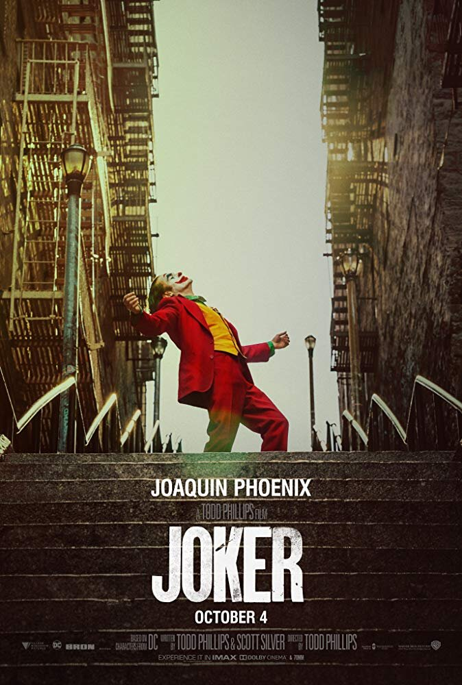 Joker  (2019) - Directed by: Todd PhillipsStarring: Joaquin Phoenix, Robert De Niro, Zazie Beetz,Shea Whigham, Frances Conroy, Marc Maron, Glenn FleshlerRated: R for Strong Bloody Violence, Disturbing Behavior, Language and Brief Sexual ImagesRunning Time: 2 h 1 mTMM Score: 4.5 stars out of 5STRENGTHS: Joaquin Phoenix, Themes, WritingWEAKNESSES: Some Heavy-Handedness, Mild Pacing