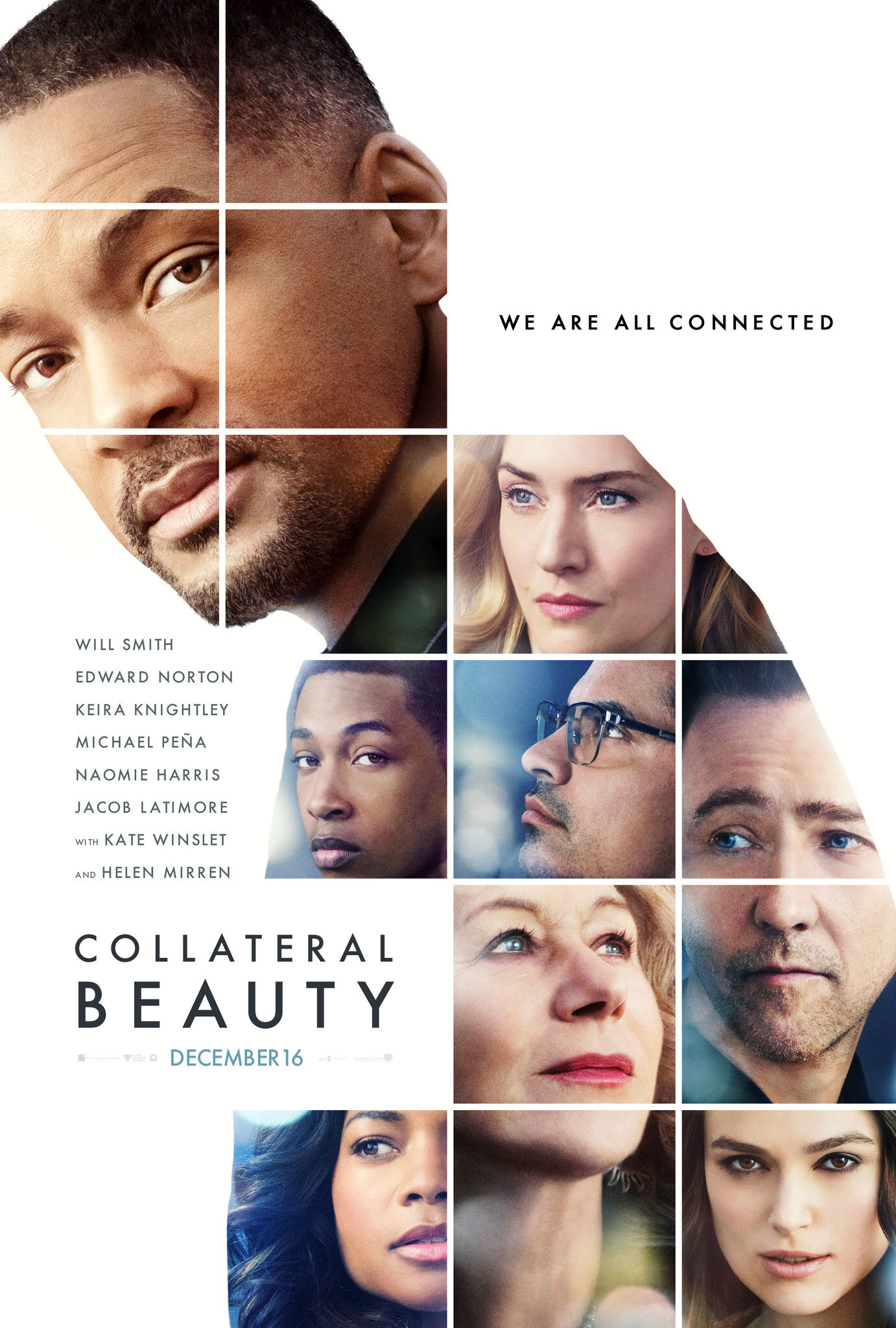 Collateral Beauty (2016) - Directed By: David FrankelStarring: Will Smith, Edward Norton, Kate Winslet, Michael Pena, Helen Mirren, Keira KnightleyRated: PG-13Run Time: 1h 37mTMM Score: 2 StarsStrengths: NothingWeakness: Plot, Story, Concept, Predictable Twist