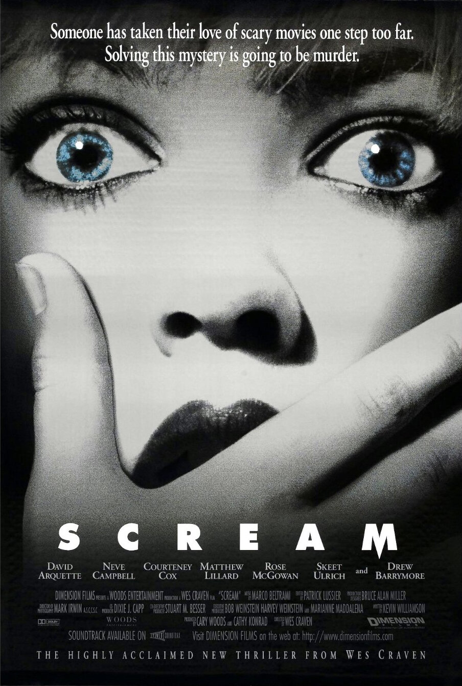 Scream (1996) - Directed by: Wes CravenStarring: Neve Campbell, Courteney Cox, David Arquette, Skeet Ulrich, Matthew LillardRated: R for Strong Graphic Horror Violence and Gore, and for LanguageRunning Time: 1h 51mTMM Score: 3.5 StarsSTRENGTHS: Fantastic Blend of Humor and Terror, IconicWEAKNESSES: Tension isn't Tight, Over the Top Performances