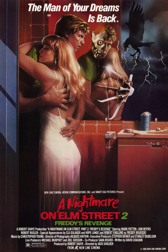 A Nightmare on Elm Street 2: Freddy's Revenge (1985) - Directed by: Jack SholderStarring: Robert Englund, Mark Patton, Kim MyersRated: RRunning Time: 1 h 27 mTMM Score: 2 stars out of 5STRENGTHS: Some Story Elements, Practical Effects, Dream SequencesWEAKNESSES: Entire Third Act