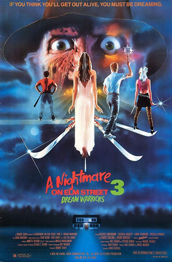 A Nightmare on Elm Street III: Dream Warriors (1987) - Directed by: Chuck RussellStarring: Robert Englund, Patricia Arquette, Heather Langenkamp, Laurence FishburneRated: RRunning Time: 1 h 36 mTMM Score: 3 stars out of 5STRENGTHS: Dream Sequences, Some Story Elements, World BuildingWEAKNESSES: Breaks Own Rules, Logic Problems