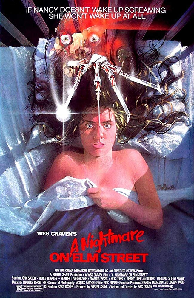 A Nightmare on Elm Street (1984) - Directed by: Wes CravenStarring: Heather Langenkamp, Robert Englund, Johnny Depp, Ronee BlakleyRated: RRunning Time: 1 h 31 mTMM Score: 4.5 stars out of 5STRENGTHS: Atmosphere, Story, World Building, Characters, CreativityWEAKNESSES: Schmaltzy Moments