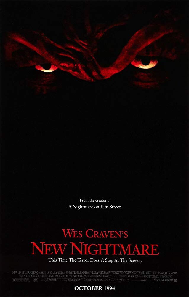 New Nightmare  (1994) - Directed by: Wes CravenStarring: Heather Langenkamp, Miko Hughes, Wes Craven, Robert EnglundRated: R for Explicit Horror Violence and Gore, and For LanguageRunning Time: 1 h 52 mTMM Score: 3.5 stars out of 5STRENGTHS: Meta-Story, Atmosphere, Freddy SequencesWEAKNESSES: Takes A While to Get Going