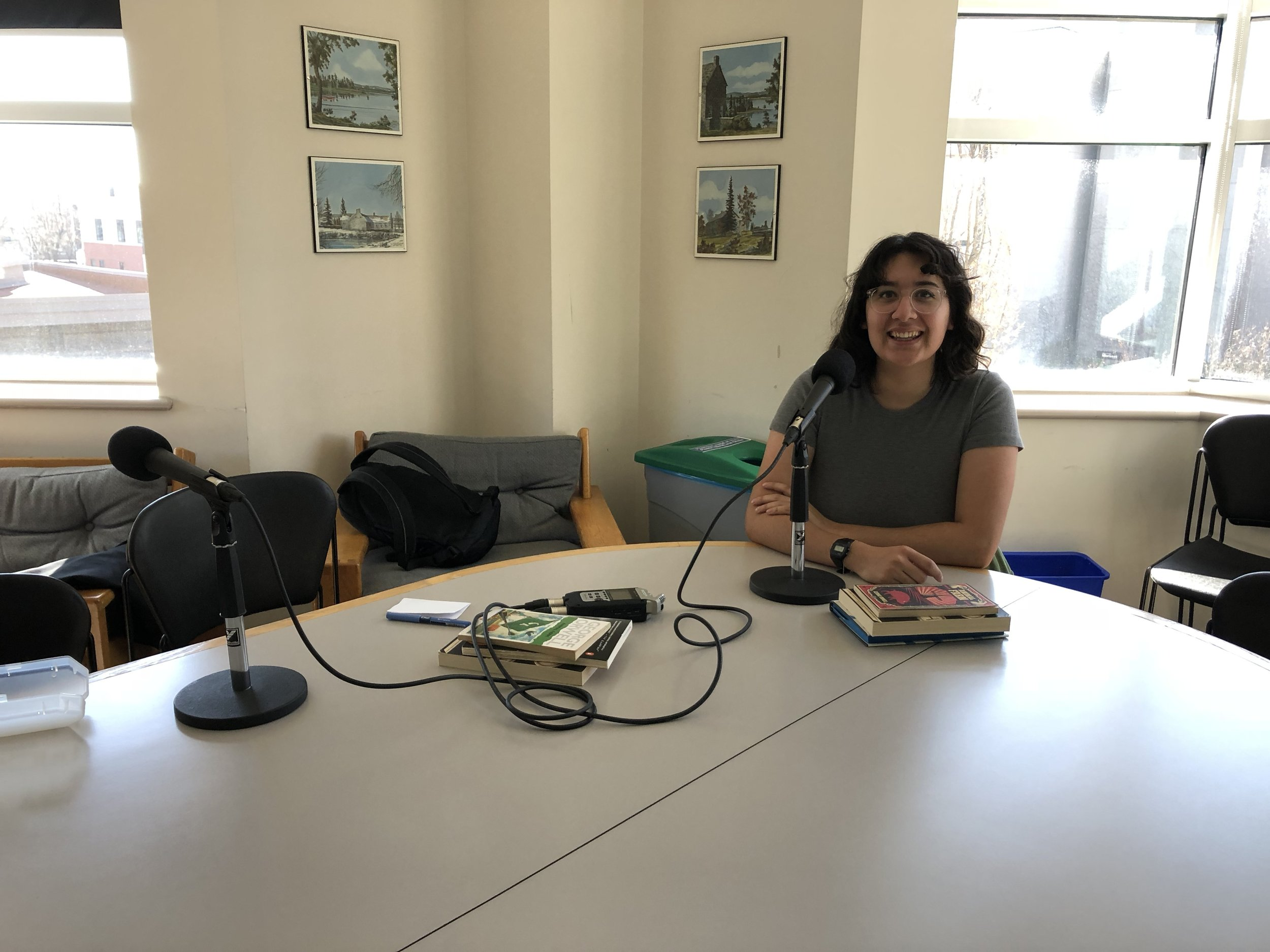 Our podcast setup in the English department.