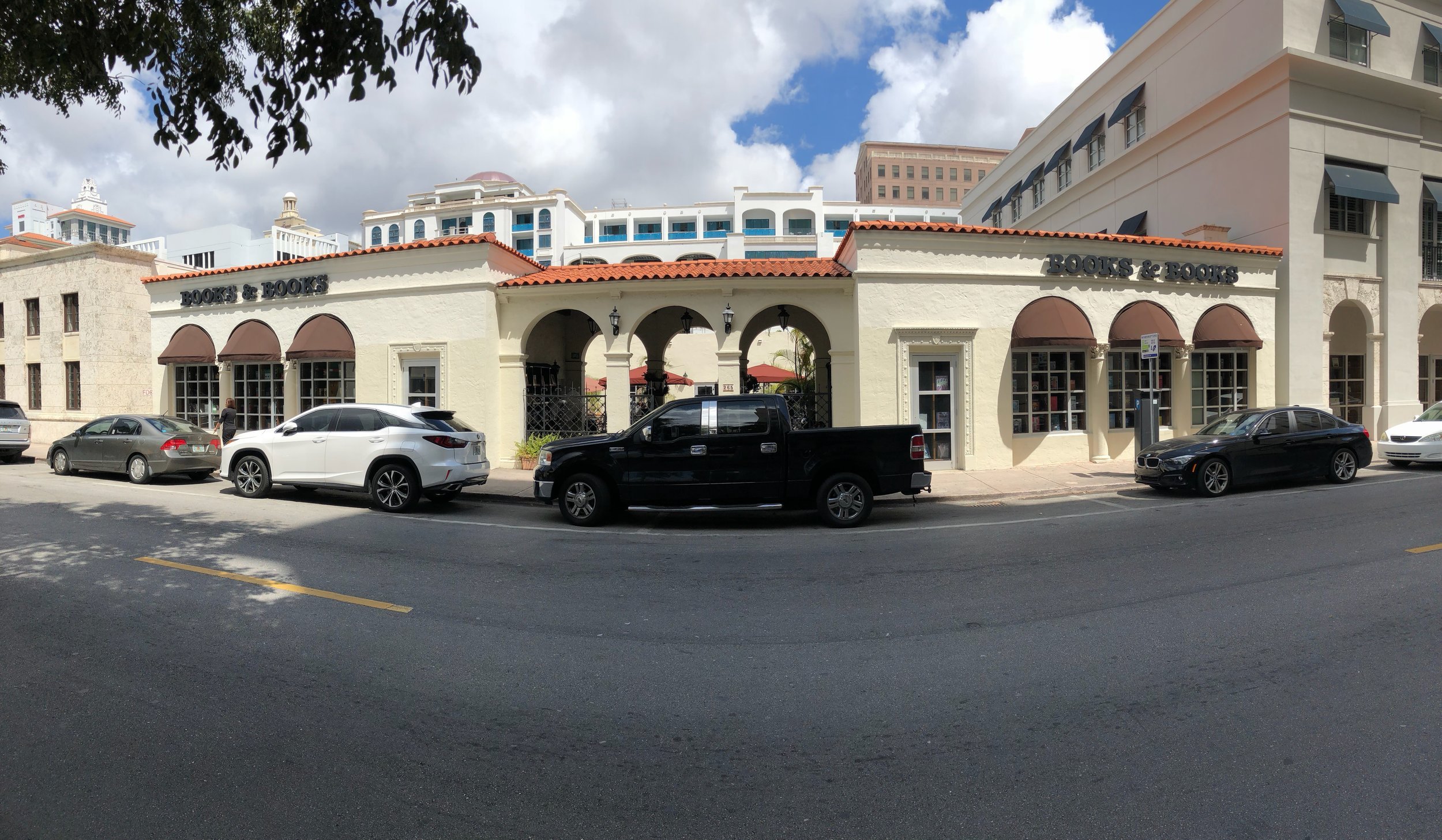 The pano shot I took outside Books & Books!