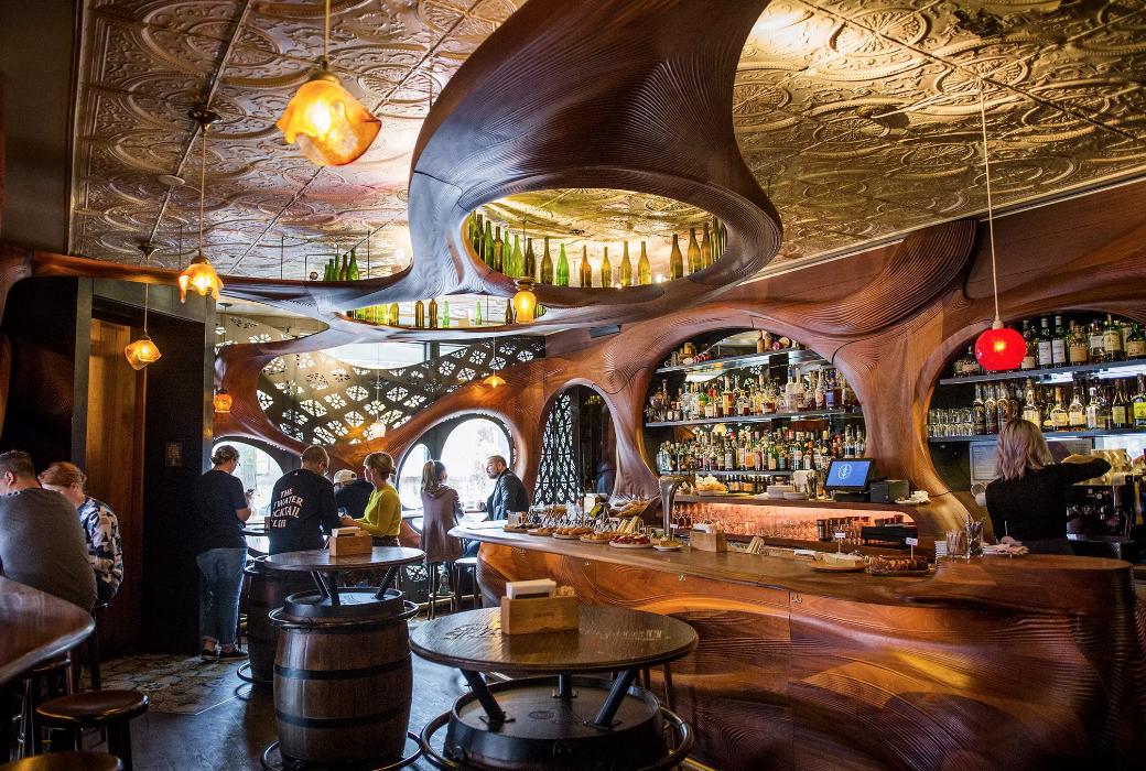 The interior of Bar Raval… feels Ewok Village-y!